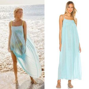 Free People On My Own Maxi Slip Dress Sky Blue